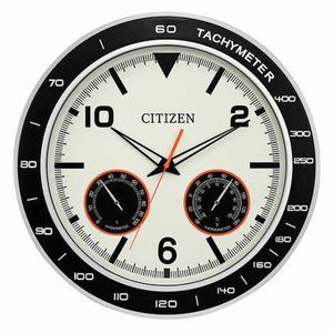 "Citizen 18"" Silver Wall Clock With Temp/Humidity"